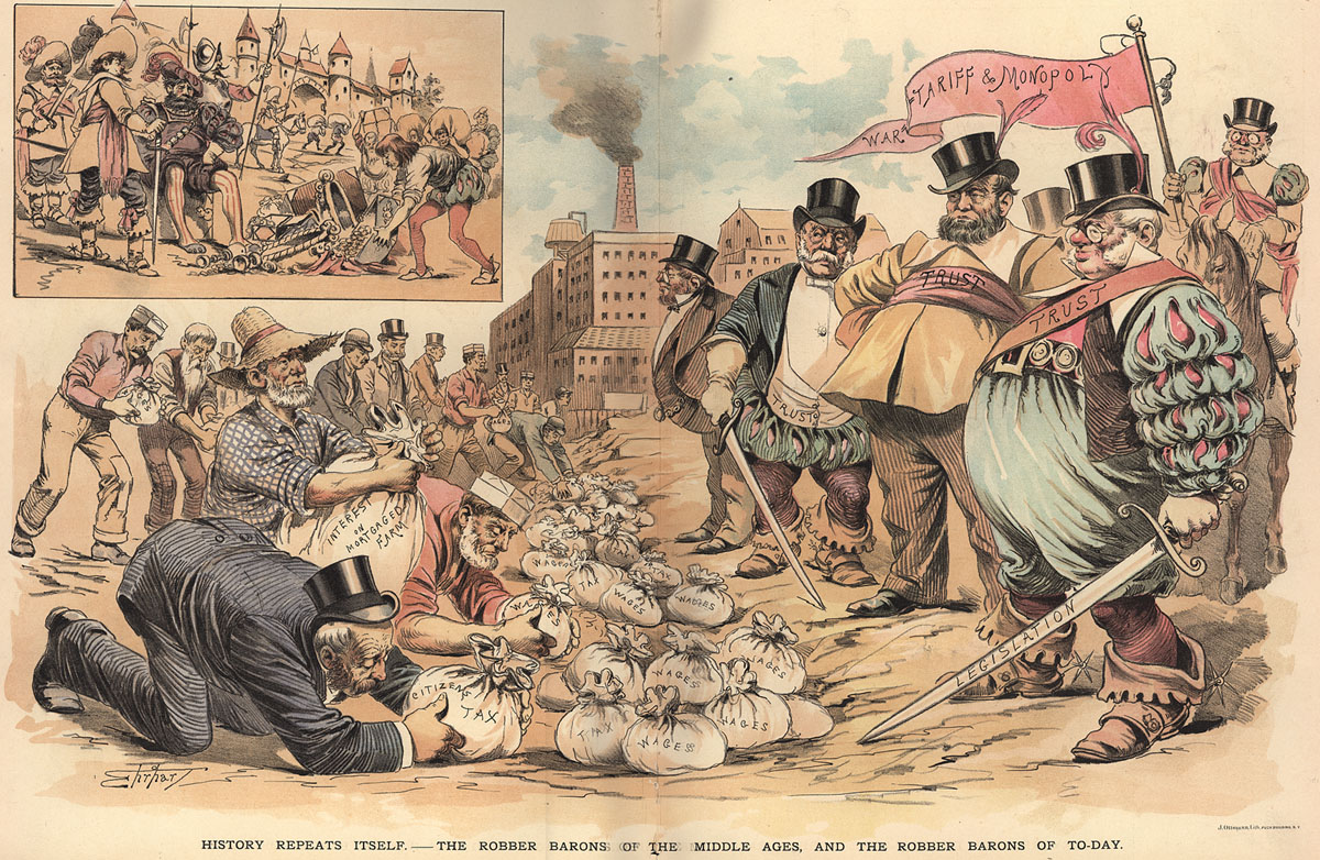 the robber barons The point is that these robber barons, as they've been called, were a mere handful of men whose deeds and misdeeds have been lovingly chronicled by three generations of journalists and muckrakers.